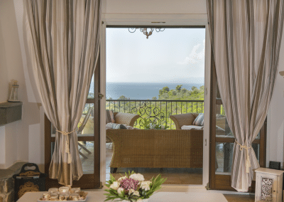 skiathos luxury villa living room sea view
